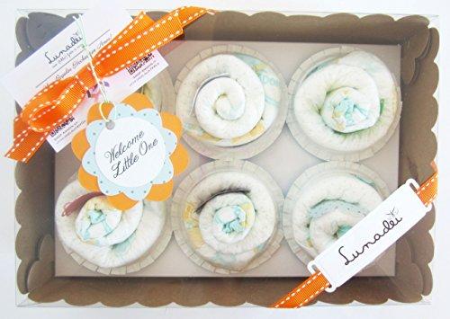 Scatola di Cupcakes fatti con Pannolini DODOT | Baby Shower Gift Idea | Scatola Regalo Personalizzabile | Idea Regalo Originale per Bebé | Versione per Maschietti