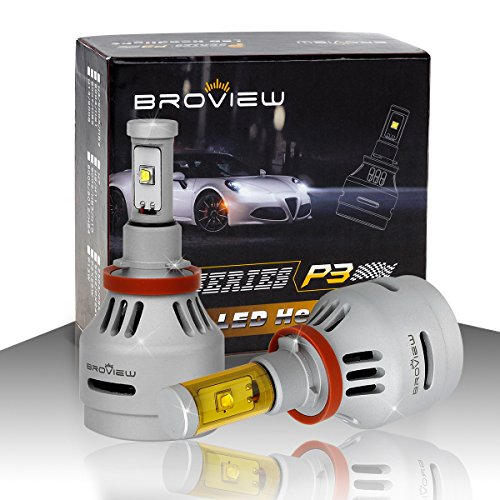 BROVIEW P3 LED Headlight Bulbs w/Clear Focused Beam 3 Colors All in One Kit - H8 H9 H11 40W 5,000LM 3000-8000K Cree w/Fan Headlamp Conversion Replace HID&Halogen -1 Yr Warranty -(2pcs/set) (Freightliner Head Lights 2002 compare prices)