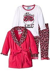 Baby Bunz Baby Girls' 3 Piece Morning Robe and Pajama Set