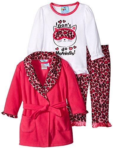Baby Bunz Baby Girls' 3 Piece Morning Robe and Pajama Set, Pink, 24 Months