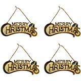 Popular Shopping Merry Christmas Hanging Quote (18 Cm X 6 Cm, Golden, Set Of 4)