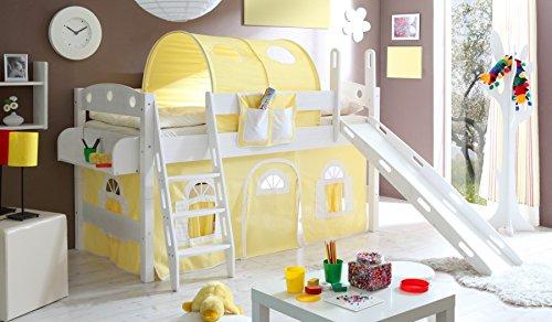 Hochbett Lenny mit Rutsche, 90 x 200 cm Textilfarbe: Gelb / Weiß