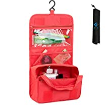 Cocoly Portable Hanging Toiletry Bag Travel Organizer Cosmetic Bag for Women Makeup or Men Shaving Kit with Hanging Hook