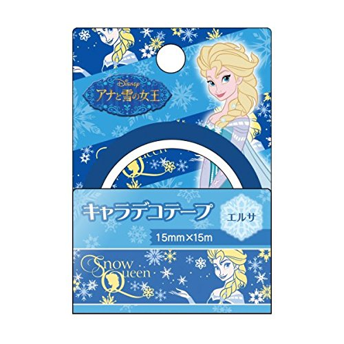 Japan Disney Official Frozen - Elsa the Snow Queen Cute Crystal Sky Blue Masking Tape Sticky Paper Snowflake Pattern Adhesive Decorative Scrapbooking DIY Party Craft Roll