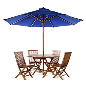 6pcs Outdoor Patio Folding Table and Chairs Set with Umbrella