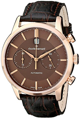 Claude Bernard Men's 08001 37R BRIR Classic Automatic Chronograph Analog Display Swiss Automatic Brown Watch