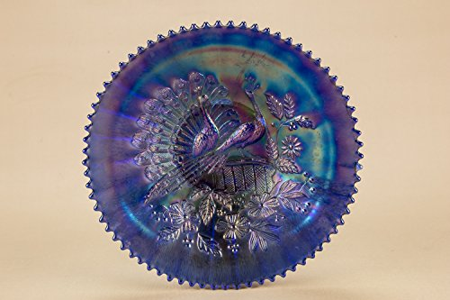 Vintage Opulent Northwood Carnival Glass Peacocks On The Fence Glass Dinner BOWL Large Art Deco Service Cereal American Circa 1920 LS Vintage Imperial Carnival Glass