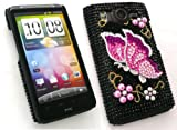 EMARTBUY HTC DESIRE HD DIAMANTE HARD BACK COVER BLACK BUTTERFLY + SCREEN PROTECTOR