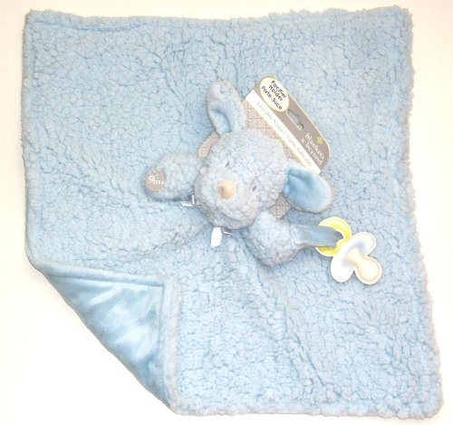 Blankets And Beyond Baby Boy Blue Fuzzy And Soft Nunu W/ Pacifier Holder