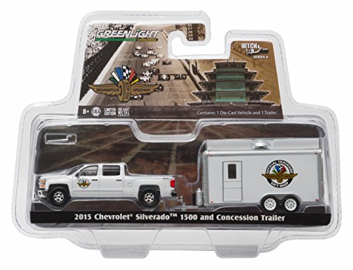 2015 CHEVROLET SILVERADO 1500 & INDIANAPOLIS MOTOR SPEEDWAY CONCESSION TRAILER * Hitch & Tow Series 6 * 2016 Greenlight Collectibles Truck & Trailer Limited Edition 1:64 Scale Die-Cast Vehicle Set (1 64 Enclosed Trailer compare prices)