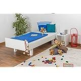 Kinderbett / Jugendbett Buche massiv Vollholz weiß lackiert 116, inkl. Lattenrost - Abmessung 90 x 200 cm