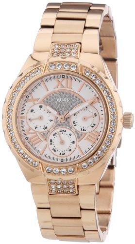 Guess W0111L3 - Reloj analógico de cuarzo para mujer con correa de acero inoxidable bañado