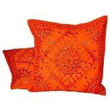 Ufc Mart Hand Embroidered Cotton Cushion Cover 2pc. Set, Color: Orange, #Ufc00488