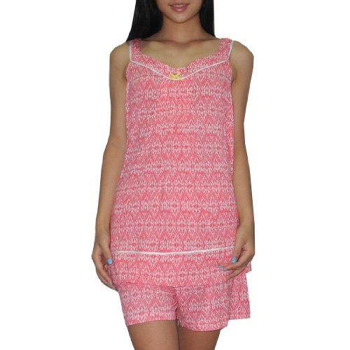 2pc-schlafanzuge-set-kensie-damen-gorgeous-pajama-top-shorts-set-2xl-rot