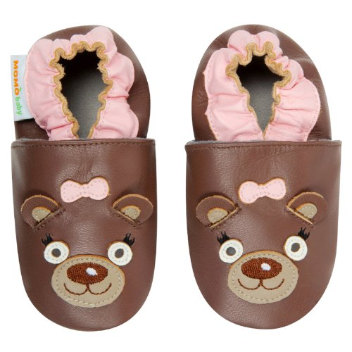 Momo Baby Infant/Toddler Mrs. Bear Brown Soft Sole Leather Shoes - 6-12 Months/3-4 M Us Toddler front-1079188