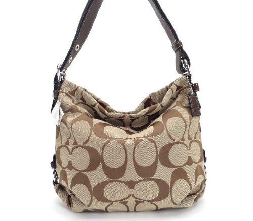 COACH 24cm Khaki SignatureTote Duffel Shoulder Bag