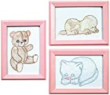 Jack Dempsey 6 x 8 inch Huggable Animals Stamped Embroidery Kit Beginner Samplers Pack of 3
