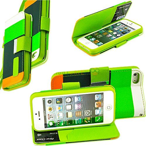 Mylife Lime Green + Hunter Green + Orange Design - Textured Koskin Faux Leather (Card And Id Holder + Magnetic Detachable Closing) Slim Wallet For Iphone 5/5S (5G) 5Th Generation Itouch Smartphone By Apple (External Rugged Synthetic Leather With Magnetic