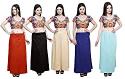 Pistaa combo of Women's Soft Cotton Mango, Coca Cola, Light Beige, Purple and Sky Blue Color Best Indian Readymade Solid Daily Wear Inskirt Saree petticoats