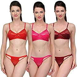 Urbaano Mesmerizing Bridal Bra & Panty Set - UR7056T - Red , Pink & Maroon (32)