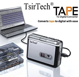 TsirTech® Audio USB Portable Cassette Tape-to-MP3 Player Adapter with USB Cable and Software Cd Also Features Auto Reverse - MAC Compatible