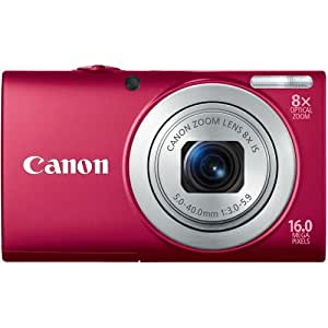 Canon PowerShot A4000IS 16.0 MP Digital Camera with 8x Optical Image Stabilized Zoom 28mm Wide-Angle Lens with 720p HD Video Recording and 3.0-Inch LCD (Red)