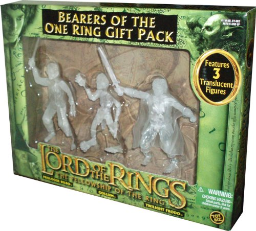 ToyBiz Year 2004 The Lord of the Rings Movie Series The Fellowship of the Ring Gift Pack - Bearers of the One Ring with 3 Translucent 4-1/2 Tall Action Figure (Prologue Bilbo with Sting-Slashing Action, Gollum and Twilight Frodo with Sword Slashin Action) - 1