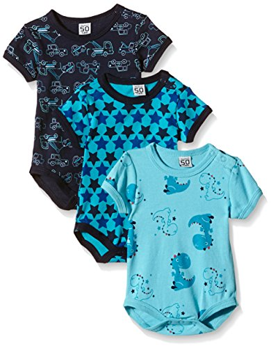 Care Baby - Jungen Kurzarm-Body im 3er Pack, All over print, Gr. 62, Blau (Dark Navy 778)