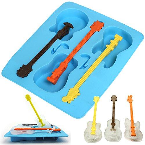 TRIXES Novità! Stampini per il ghiaccio in silicone di colore blu a forma di chitarra.