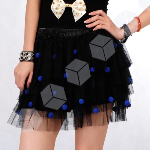 Exotic Tulle Tutu Polka Dots Princess Layered Fun Multi colour Ball Design Mini Micro Strecth Elastic Waist Skirt UK size 6-10 Black / White women woman / girl girls costume fancy dress
