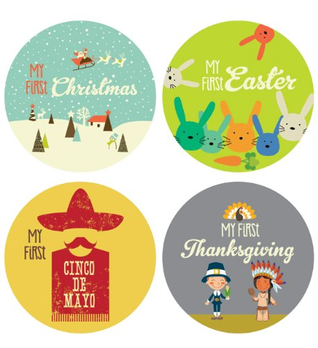 Lucy Darling First Holiday Baby Stickers - Gender Neutral - First Holiday Style 2 - 1