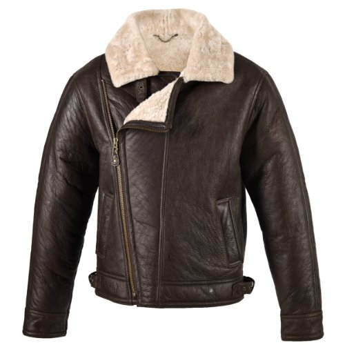 Men's sheepskin aviator flying jacket in Chocolate forest colour 38