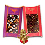 Chocholik Belgium Chocolate Gifts - Nutty And Fiery Combo Of Chocolate Bars With Ganesha Idol - Diwali Gifts