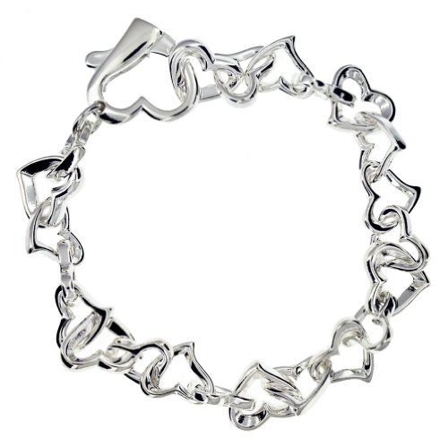 Silver Heart Linkes Bracelet 7.13cm