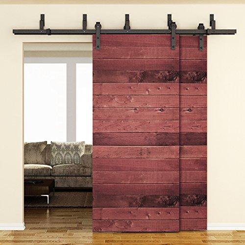 SMARTSTANDARD 6.6FT Bypass Country Black Steel Sliding Two Barn Wood Door Hardware Antique (Black Bypass Steel) (Closet Doors Hardware compare prices)