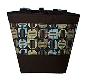 Jayna Bags Women's Large Multipurpose Geometric Architect Edge Tote Espresso-Brown Green Aqua-Blue