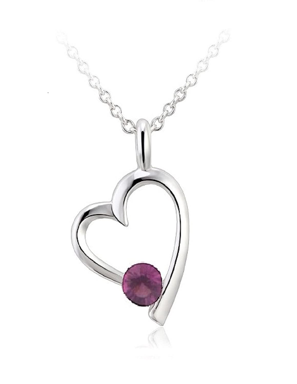 Swarovski Crystal Elements Heart Beat Necklace 18 February Birthstone Amethyst