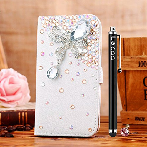 Locaa(TM) For LG G3 VS985 D850 D830 D851 LGG3 3D Bling Case + Touch stylus + Anti-dust ear plug Deluxe Luxury Crystal Pearl Diamond Rhinestone eye-catching Beautiful Leather Retro Support bumper Cover Card Holder Wallet Cases -[General series] raindrop stone (G3 Dust Plug compare prices)