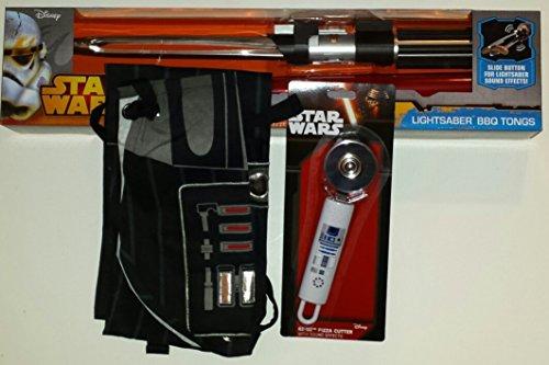 Star Wars Grilling Bundle: Light Saber BBQ Tongs, R2D2 Pizza Wheel, Darth Vader Apron