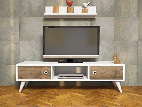 ASPEN-Wohnwand-Wei-Nussbaum-TV-Lowboard-mit-Wandregal-in-modernem-Design