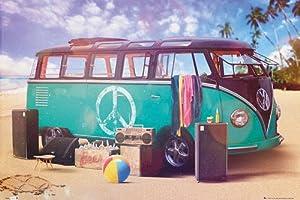 "Amazon.com: VW Camper Van Poster Beach Party (36""x24""): Prints"