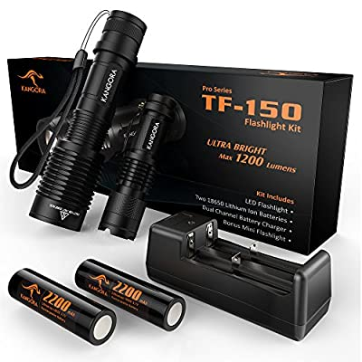 KANGORA Cree LED Flashlight Kit - 5 Modes - Water-Resistant Handheld Flashlights with Rechargeable 18650 Battery Charger for Camping, Hiking, Cycling, and Emergency Search Missions