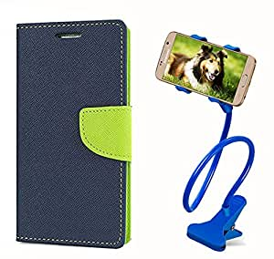 Aart Fancy Diary Card Wallet Flip Case Back Cover For Samsung G355H - (Blue) + 360 Rotating Bed Tablet Moblie Phone Holder Universal Car Holder Stand Lazy Bed Desktop for by Aart store.