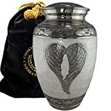 Loving Angel Wings Silver and White Burial or Funeral Adult Cremation Urn for Human Ashes - Large, Adult