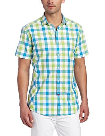 Stone Rose Men's Check Woven Shirt, Green/Blue, Small