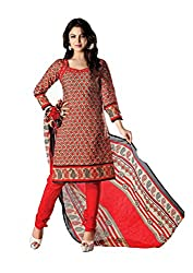 RUDRA FASHION WOMEN'S RED COTTON SALWAR SUIT DRESS MATERIAL WITH COTTON DUPATTA.DS-2109