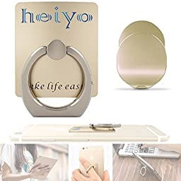 """Phone Ring Holder Car Mount Finger Grip Desk Stand Compatible with All Phones and Tablets (Gold)-Heiyoâ""""¢"""