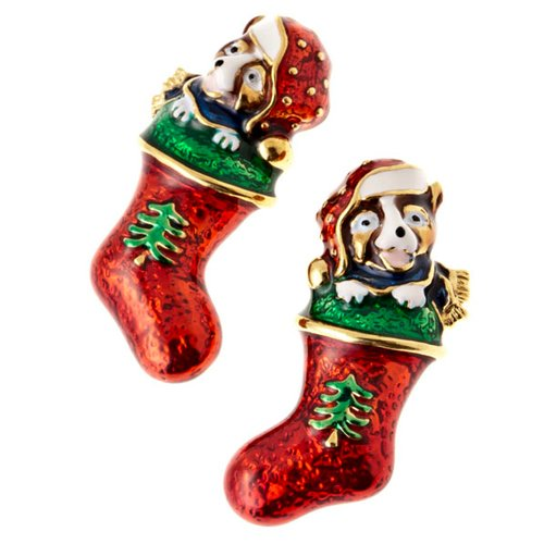 Christmas Jewelry Brown Puppy Dog in Red Sock Gold Tone Holiday Charm Earrings