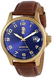 Invicta Mens 15255 I-Force Blue Dial Dark Brown Leather Band Watch