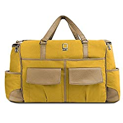 Lencca Alpaque Duffel - Mustard Yellow & Cool Camel Luggage Laptop Bag for Apple MacBook Pro 13in/ Apple MacBook Air 13in (1 Year Replacement Guarantee)